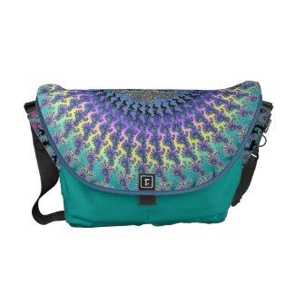 Colorful Rainbow Fractal Swirl Messenger Bag