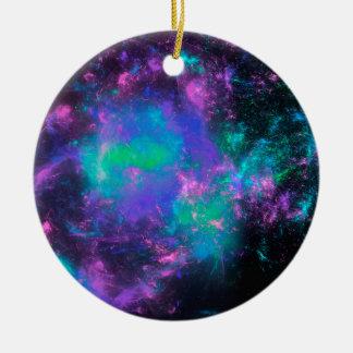 colorful rainbow fractals adorno navideño redondo de cerámica