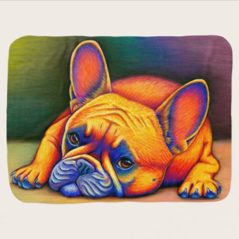 Colorful Rainbow French Bulldog Baby Blanket