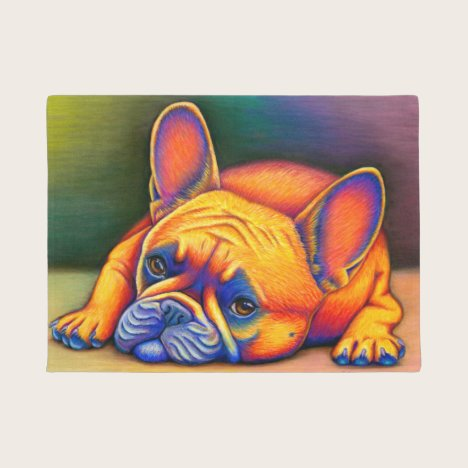 Colorful Rainbow French Bulldog Dog Door Mat