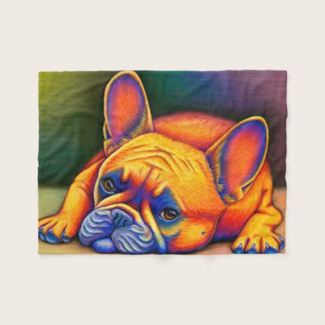 Colorful Rainbow French Bulldog Fleece Blanket