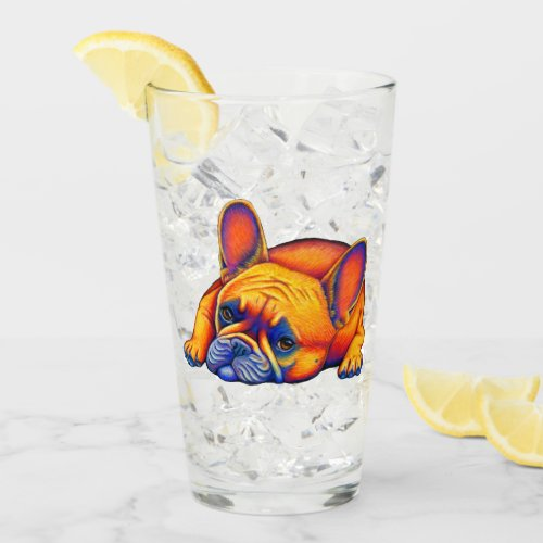 Colorful Rainbow French Bulldog Glass Cup
