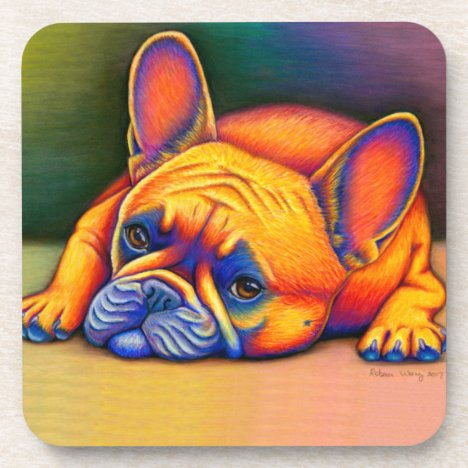 Colorful Rainbow French Bulldog Plastic Coasters