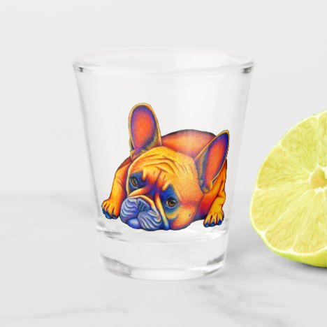 Colorful Rainbow French Bulldog Shot Glass