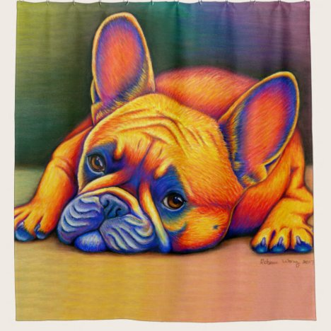Colorful Rainbow French Bulldog shower curtain