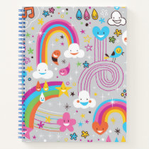 Colorful Rainbow Funky Collage Notebook