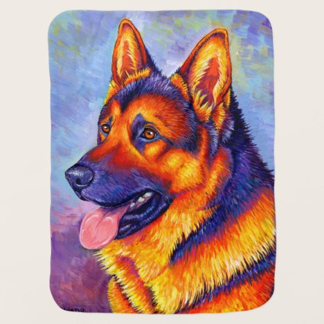 Colorful Rainbow German Shepherd Dog Baby Blanket