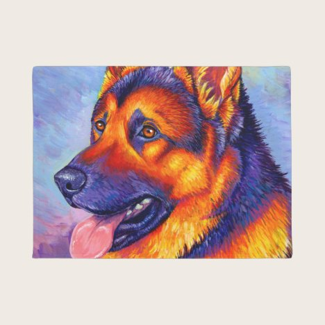 Colorful Rainbow German Shepherd Dog Door Mat