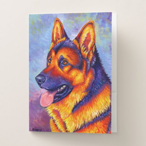 Colorful Rainbow German Shepherd Dog Folders