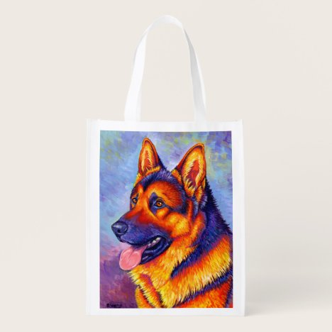 Colorful Rainbow German Shepherd Dog Grocery Bag