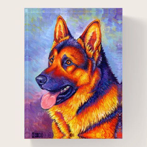 Colorful Rainbow German Shepherd Dog Paperweight