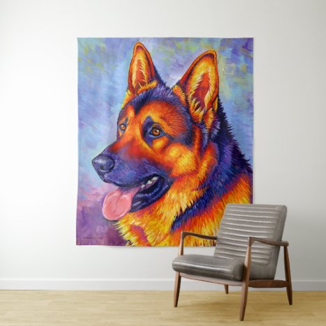 Colorful Rainbow German Shepherd Dog Tapestry