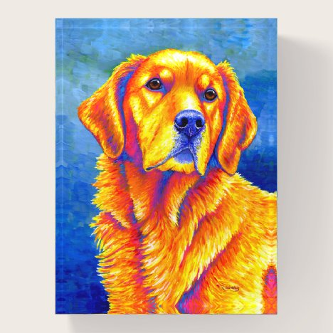 Colorful Rainbow Golden Retriever Dog Paperweight