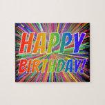 "[ Thumbnail: Colorful Rainbow ""Happy Birthday!"" Line Burst Jigsaw Puzzle ]"