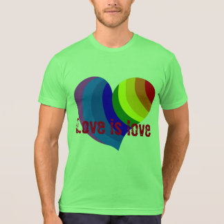 "Colorful rainbow heart says ""Love is love"" T-Shirt"