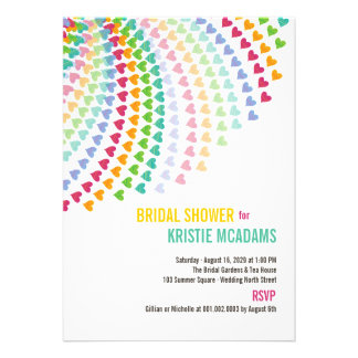 Colorful Rainbow Heart Sprinkles Bridal Shower Personalized Invite