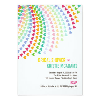 Colorful Rainbow Heart Sprinkles Bridal Shower 5x7 Paper Invitation Card