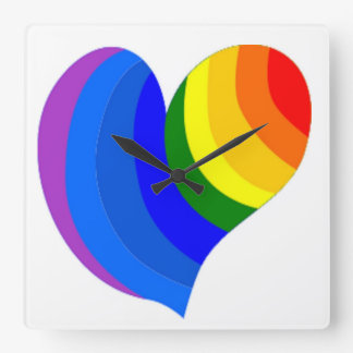 COLORFUL RAINBOW HEART SQUARE WALL CLOCK