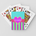 "Colorful Rainbow Heart Striped Polka Dots Playing Cards<br><div class=""desc"">Colorful rainbow pattern deck of cards</div>"
