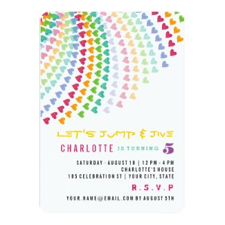 Colorful Rainbow Hearts Kids Birthday Party Invite