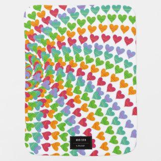 Colorful Rainbow Hearts New Birth Baby Blanket