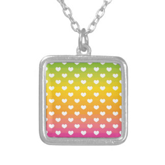 Colorful Rainbow Hearts Pattern Gifts Personalized Necklace