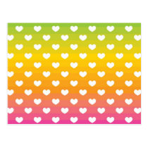 Colorful Rainbow Hearts Pattern Gifts Postcard