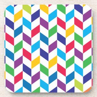Colorful Rainbow Herringbone Pattern Coaster