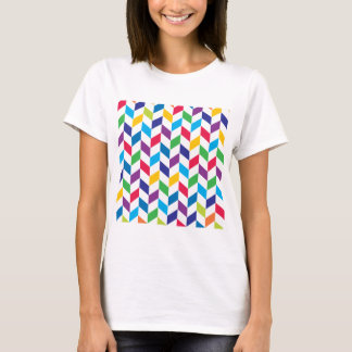 Colorful Rainbow Herringbone Pattern T-Shirt