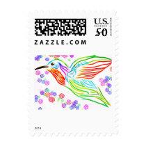 Colorful Rainbow Hummingbird Postage Stamps