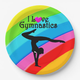 COLORFUL RAINBOW I LOVE GYMNASTICS PAPER PLATES