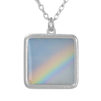 Colorful Rainbow in Blue Sky, Photo Silver Plated Necklace