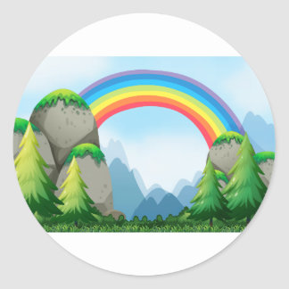 Colorful rainbow in the nautre classic round sticker