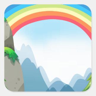 Colorful rainbow in the nautre square sticker