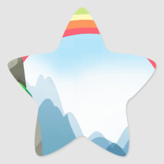 Colorful rainbow in the nautre star sticker
