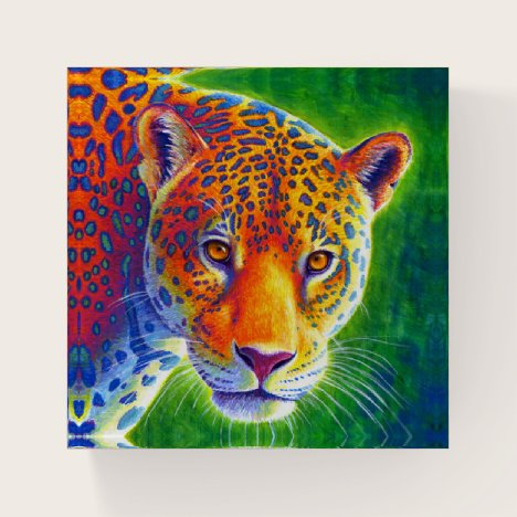 Colorful Rainbow Jaguar Wild Feline Paperweight