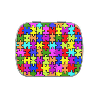 Colorful rainbow jigsaw puzzle pattern jelly belly candy tins
