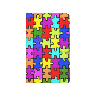 Colorful rainbow jigsaw puzzle pattern journal