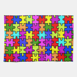 Colorful rainbow jigsaw puzzle pattern kitchen towel