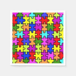 Colorful rainbow jigsaw puzzle pattern napkin