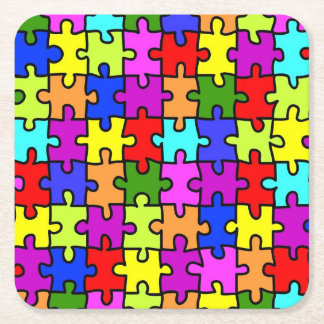 Colorful rainbow jigsaw puzzle pattern square paper coaster