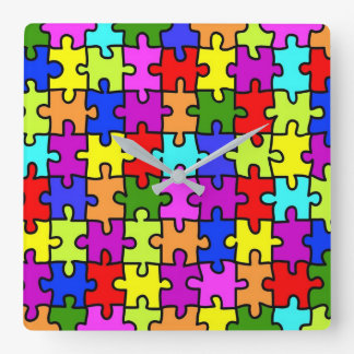 Colorful rainbow jigsaw puzzle pattern square wall clock