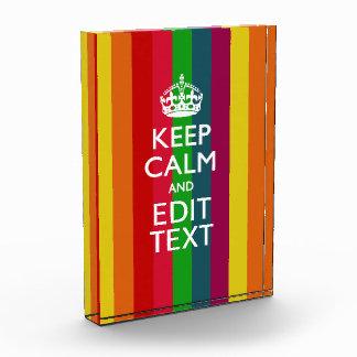 Colorful Rainbow Keep Calm And Your Text Customize Award