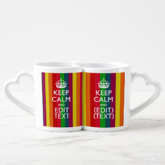 Colorful Rainbow Keep Calm And Your Text Customize Coffee Mug Set