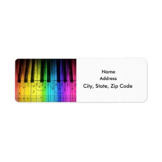 Colorful Rainbow Keyboard Grand Piano Label Return Address Label