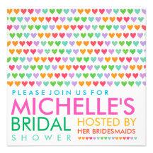 Colorful Rainbow Love Hearts Bridal Shower Invite Personalized Invitations
