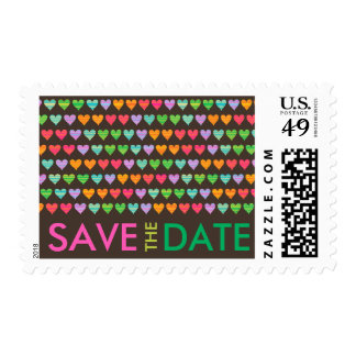 Colorful Rainbow Love Hearts Save The Date Stamps