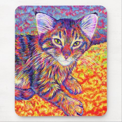 Colorful Rainbow Maine Coon Kitten Mouse Pad