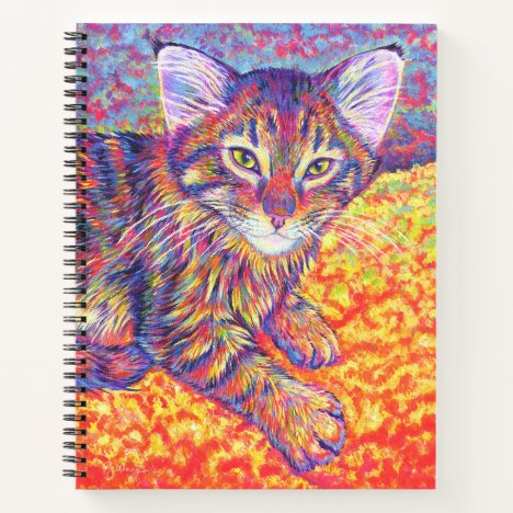 Colorful Rainbow Maine Coon Kitten Spiral Notebook