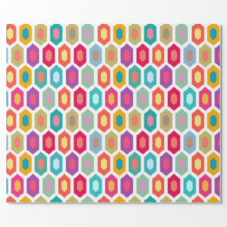 Colorful Rainbow Modern Ikat Tribal Pattern Wrapping Paper